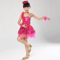 Sequin Ribbon One Shoulder Halter Baby Teen Girl Children S Costumes Dance Jazz Kids Outfits For