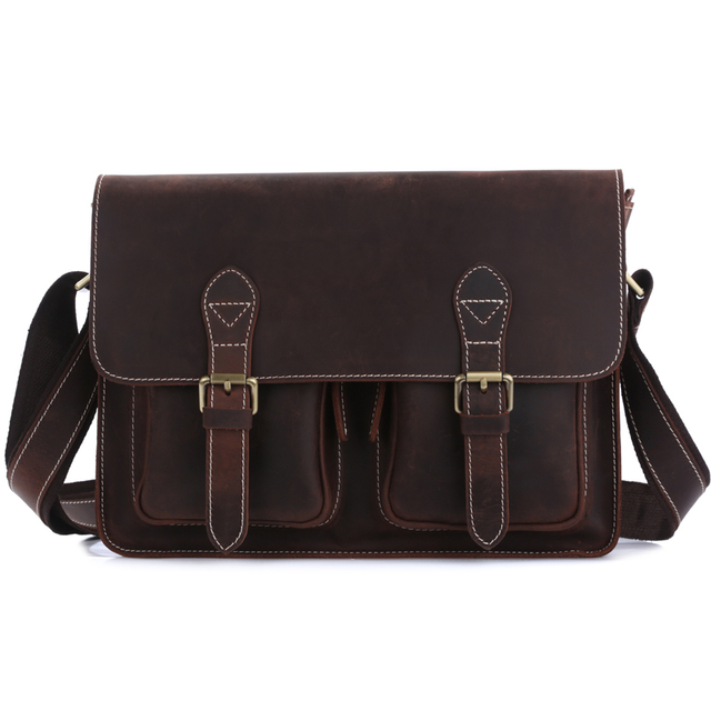 Tiding Leather Shoulder Bag Women Men Messenger England Style College School Book 1103