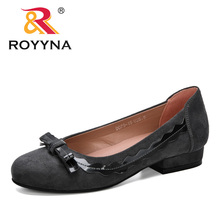 ROYYNA 2019 New Designer Woman Pumps Flock Women Shoes Round Toe Mid Heels Dress Work Pumps Comfortable Ladies Wedding Shoes 2017 brand new european vintage pumps shoes for woman ds162 flock square toe straps sexy female ladies pumps shoes
