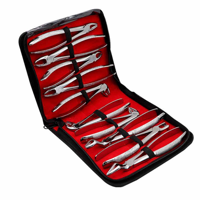 10 יח'\סט למבוגרים שן חילוץ מלקחיים צבת עם ערכת כלים שיניים כירורגי חילוץ מכשירים למרפאת שיניים