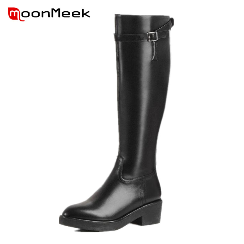 ФОТО MoonMeek Motorcycle boots women buckle fashion pu + genuine leather boots autumn quality shoes knee high long boots