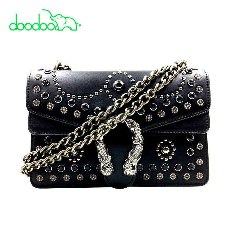 Fashion Preal Rivet Chain Casual Shoulder Bag Messenger Bags Retro Women Leather Bag Handbag Lady Tote