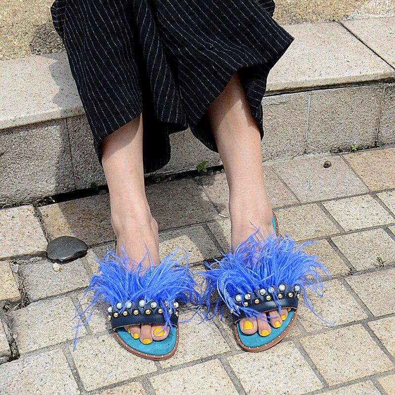 Pantoufles Femmes Plume Femme Chaude Noir L'extérieur Plat bleu Strass Chaussures De Véritable Fourrure Cuir Prova En Décoration Diapositives rose Semelle Mode À Perfetto PfYznz