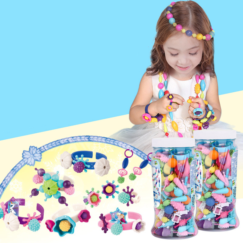 Disney Classic Toys princess Kid's Party Children's Beaded Toys DIY Ice and Snow Wireless String Beads 150 Toys for children