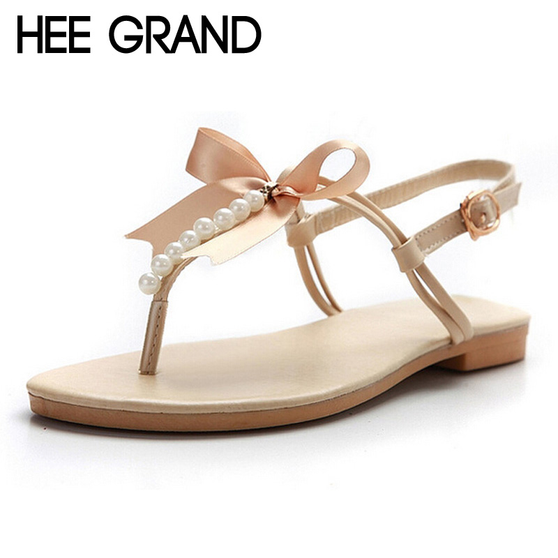 HEE GRAND Summer Flip Flops Bowtie Gladiator Sandals Pearl Shoes Woman Slip On Flats Casual Women Shoes Plus Size 35-43 XWZ3299 lanshulan bling glitters slippers 2017 summer flip flops shoes woman creepers platform slip on flats casual wedges gold