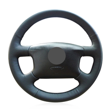 Hand-stitched Black Artificial Leather Car Steering Wheel Cover for Skoda Octavia 1999-2005