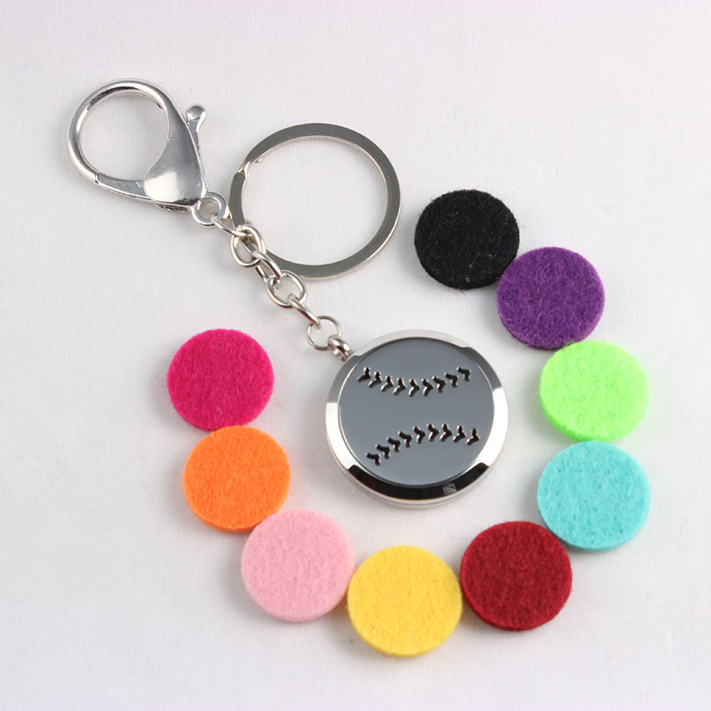 Baseball Screw Stainless Steel Diffuser Locket Keychains Aromatherapy Essential Oils Diffuser Locket Keychains 10PCS/Lot