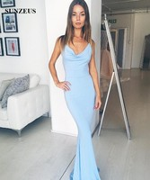 Sheath Spaghetti Straps Long Blue Bridesmaid Dresses Fitted Jersey Wedding Party Gowns Backless Vestiti Damigella Donna