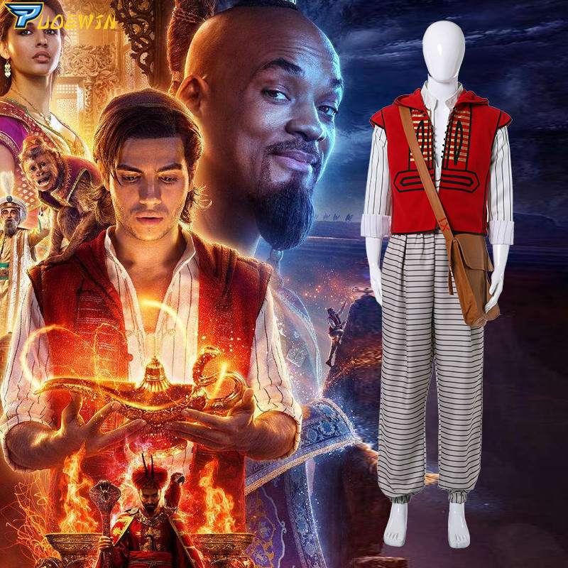 2019 Movie Aladdin Costume Cosplay Halloween Costumes Prince Mena Massoud Outfit Cosplay Aladdin Suit with Bag Hat Custom Made