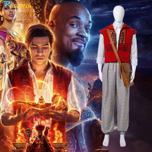 2019 Movie Aladdin Costume Cosplay Halloween Costumes Prince Mena Massoud Outfit Suit with Bag Hat Custom Made