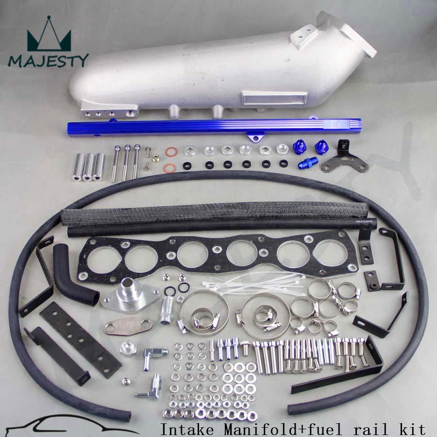 Intake Manifold For Upgrade Supra 2JZ JZA80 2JZGTE 2JZ-GTE Aluminum + Fuel Rail BLUE