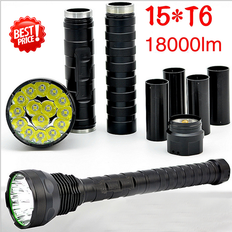 powerful led flashlight 18000lm 15*T6 flashlight  high power Torch  super bright flashlight for hunting    Outdoor exploration p80 panasonic super high cost complete air cutter torches torch head body straigh machine arc starting 12foot
