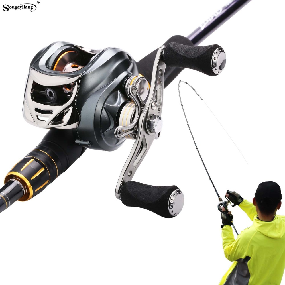 Sougayilang 2.12m Fishing Rod and Baitcasting Reel Combo 4 Sections Carbon Spinning Lure Rod and Casting Fishing Reel Sets Pesca hiumi 2 pieces casting fishing rod pole with baitcasting reel fishing rod with two tips m mh lure fishing rod and reel combo