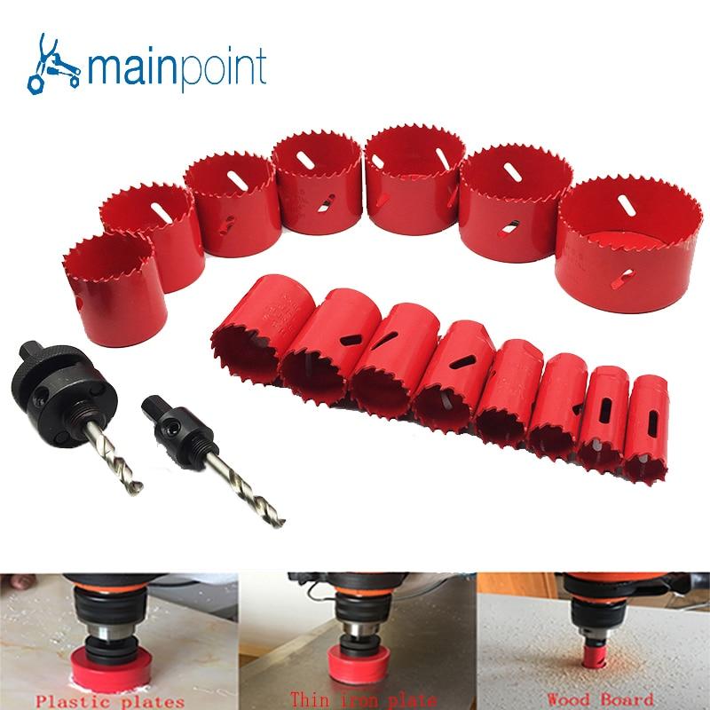 Mainpoint HSS Bi-Metal Hole Saw Kit Con Il Trapano PowerTool Accessorie 19-76mm lavorazione dei Metalli Utensili A Mano In Acciaio taglio dei Metalli