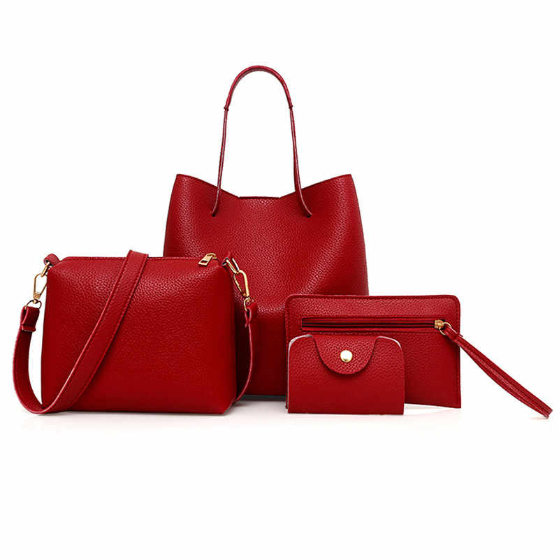 4pcs Elegant Women Bag Set PU Leather Top-Handle Large Capacity Handbag Shoulder Bag For Women 2019 PU Leather Crossbody Bag