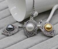 Splendido Colore Dell'oro Bianco Perla e Collana Di Cristallo Del Pendente Per W