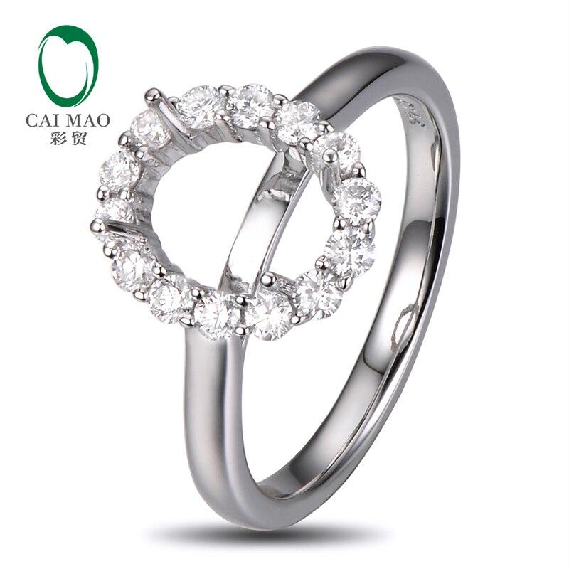 7x9mm Oval Cut 14K White Gold 0 50ct Diamond Wedding Engagement Semi Mount Setting Ring