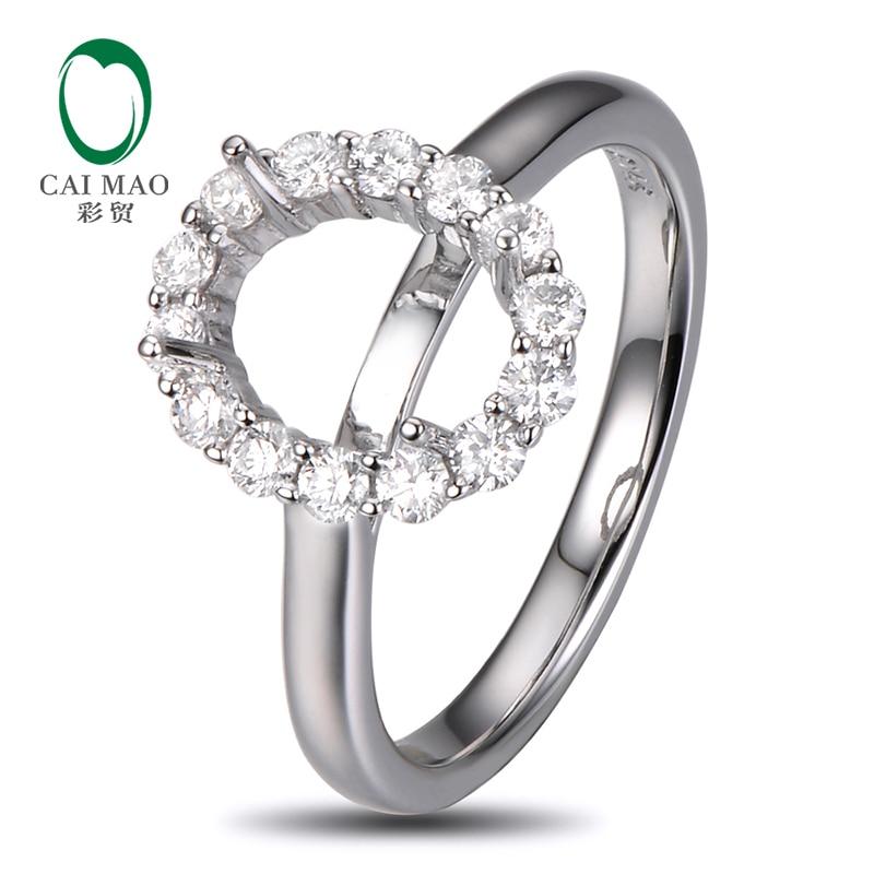 7x9mm Oval Cut 14K White Gold 0.50ct Diamond Wedding Engagement Semi Mount Setting Ring