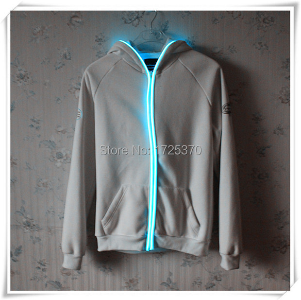 2015 high quality blank cotton EL wire hoody LED light up mens ...