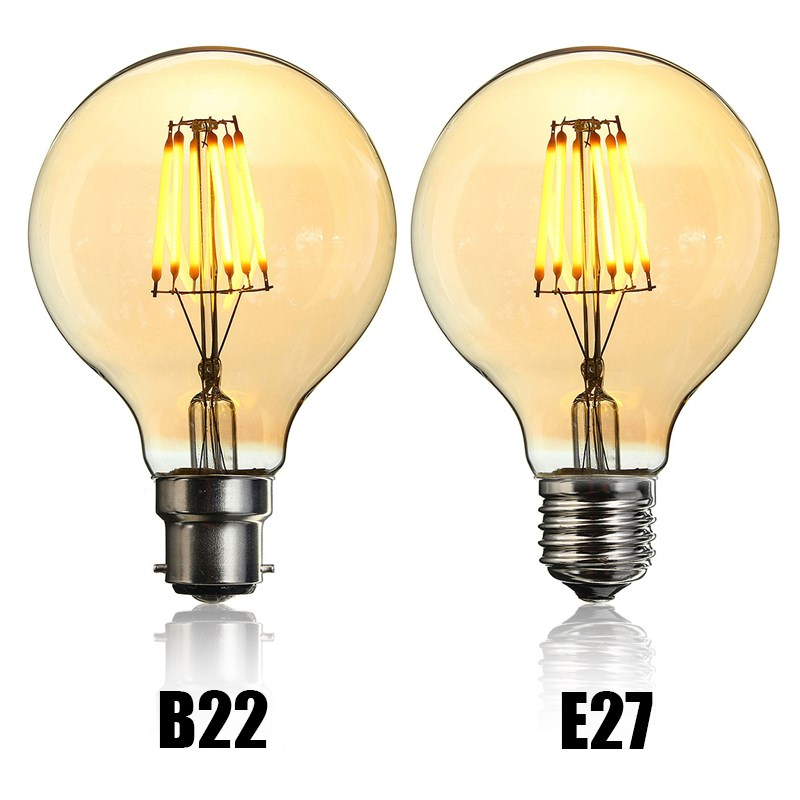 Vintage LED Light Bulb Edison Bulb E27 B22 G80 Dimmable 6W Retro Globe Light Lamp Filament Bulb 220V for Home Bar Decor Lighting