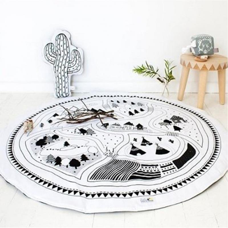 97CM Baby Round Carpet Game Pad Kids <font><b>Playmats</b></font> Baby Crawling Blanket Gym Play Mat Children Indoor Playing Toys Decoration Gift