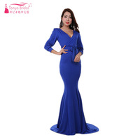 Royal Blue Bridesmaid Dresses Spandex Long Sleeve Muslim Simple Cheap Maid Of Honor Gowns Women Formal Gowns ZB073