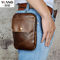 Men First Layer Cowhide Genuine Leather Messenger Bags Casual Crossbody Bag Belt Hook Waist Fanny Pack