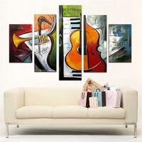 Handgeschilderde Canvas Schilderijen Abstracte Muziek Gitaar Schilderijen Moderne Home Decor Art 5 Panel Kleurrijke Acryl Foto