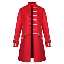 W stylu Vintage męskie sukienka stojak na płaszcze kołnierz gotycki trencz wykończenia Steampunk mężczyźni swetry rozpinane płaszcz z długim rękawem Gothic brokat kurtka tanie tanio COTTON Poliester Pełna Stałe Pojedyncze piersi Cienkie Przycisk NONE REGULAR steampunk men Suknem Konwencjonalne Wykop