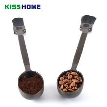 Coffee Cleaning Brush with Measure Ounce Spoon 8/10g Long Handle Milk Powder Soft Flexible Bristles Brushes Tools