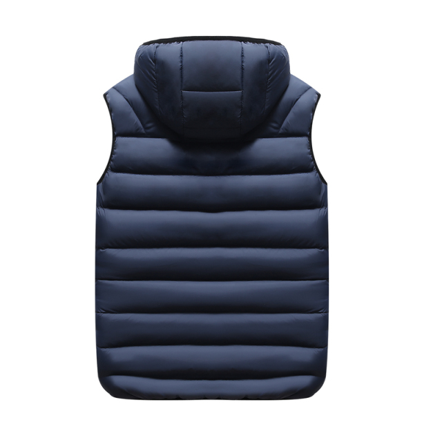 Fall vest men's fashion removable hat, couples, sleeveless jacket, casual cotton cushion coat, men's winter vest plus size.