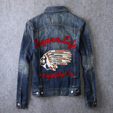 Vintage Deisgner Fashion Men Jacket Indian Chief Pattern Embroidery Retro Denim Jacket Men Coats Streetwear Hip Hop Jacket homme white classic collar embroidery pattern denim jacket