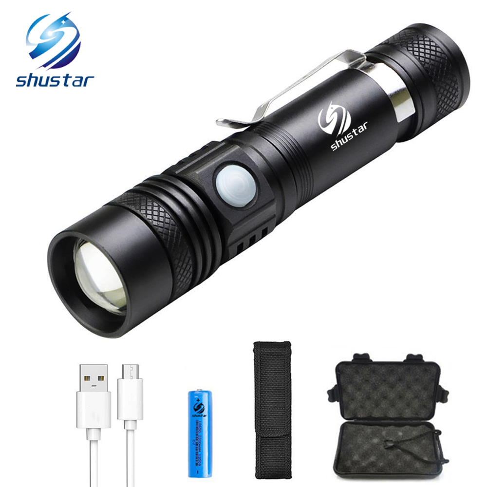 Usb Rechargeable Led Flashlight T6 Led Lamp Bead High Lumens Led Torch Ultra Bright Waterproof Flashlight With 18650 Battery