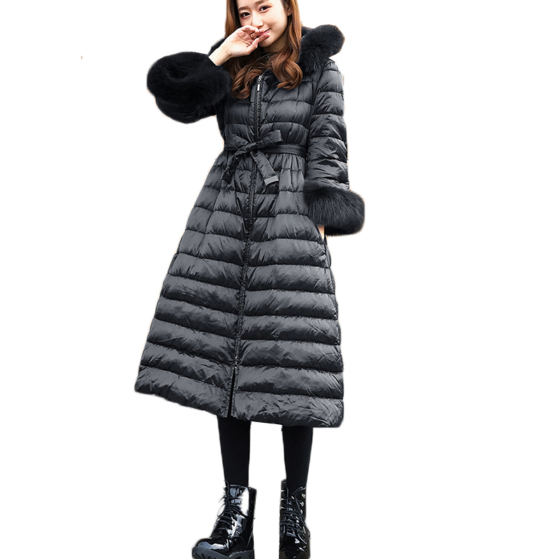 Winter Duck   Down   Jacket Women Big Fur Collar Black   Down     Coats   Women Parkas Thick Long   Coat   Casacas Para Mujer real picture 100%