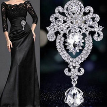 Hot New Donne Grande Corona di Fiori Da Sposa Rhinestone Di Cristallo Spilla Pin Monili di Fascino(China)
