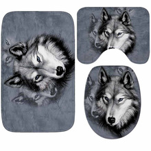 Wolf Printed Bath Mat 3pcs/set Bathroom Carpet Microfiber Mats For Anti-slip Floor Rugs