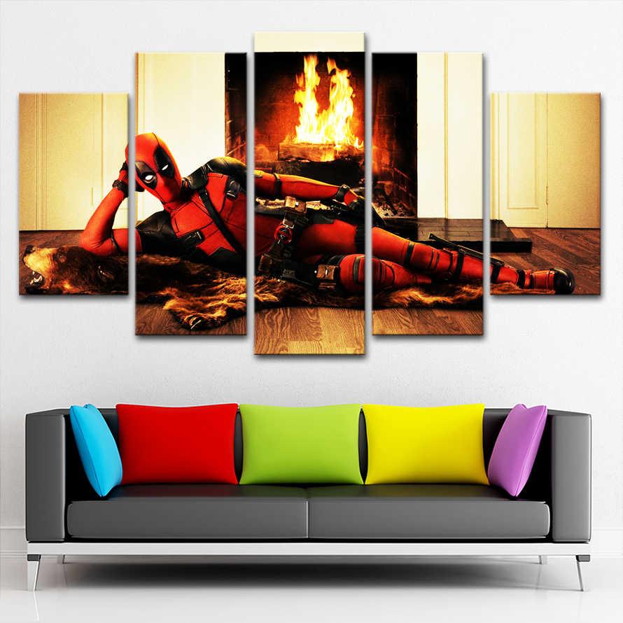 Modular Gambar Untuk Ruang Tamu Yang Modern Kerangka Dekorasi 5 Pieces Film Deadpool Lukisan Dinding Seni Dekorasi Kanvas HD Cetak Poster