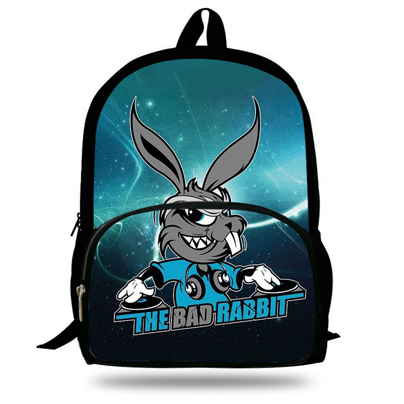 16-Inch Cool Bad Rabbit Backpack For Teenagers Boys/Girls Animals Bunny Printing Casual Daily Bakcpack Children School Bag