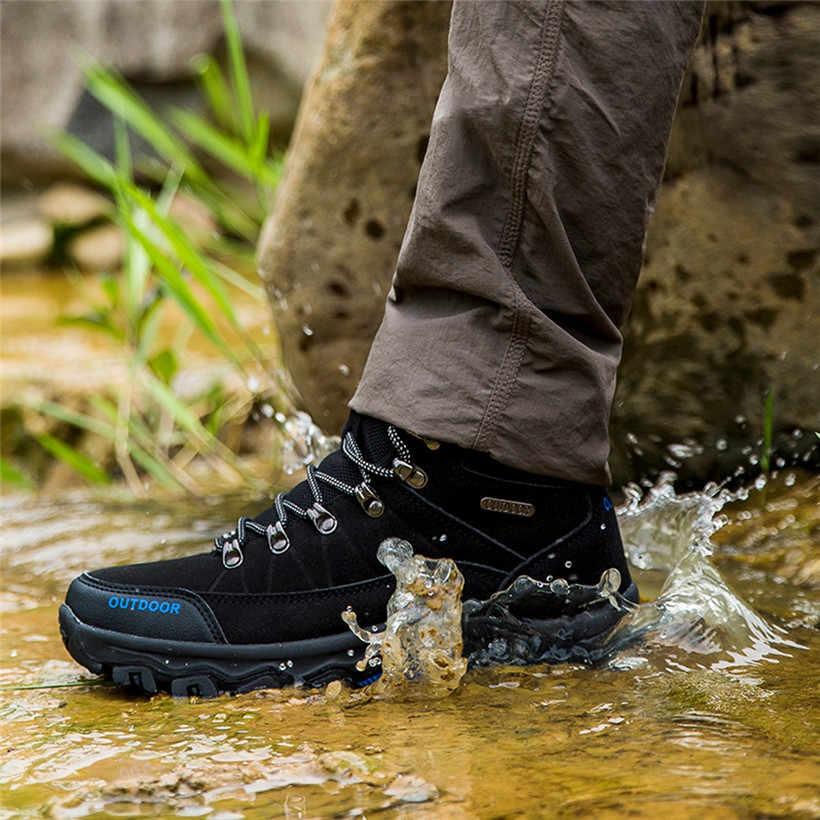 Áo Ngoài Trời Giày Chất Liệu Cotton Phối Ren-Lên Đi Bộ Đường Dài Giày Chống Nước Chống Trượt Giày Thể Thao Nam Dropshipping Nam