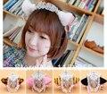 Gato maneki Neko cosplay anime disfraz lace maid lolita felpa gato oreja hairband hairwear del pelo arco de la cinta campana envío gratis