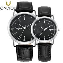 ONLYOU Moda amante relógios Coração-em forma de broca com um relógio Charme Simples ultrafino café cinto relógio dos homens dos Esportes presente Dos Namorados