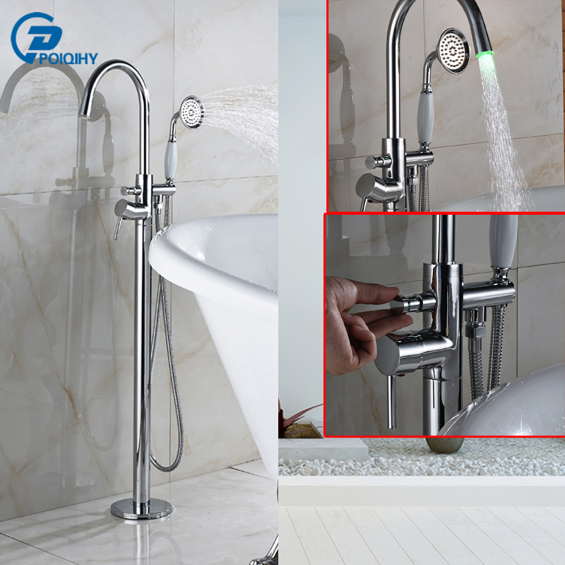 POIQIHY Bathtub Faucet with LED Free Standing Mount Tub Mixer with Handheld Shower Head Chrome Finish