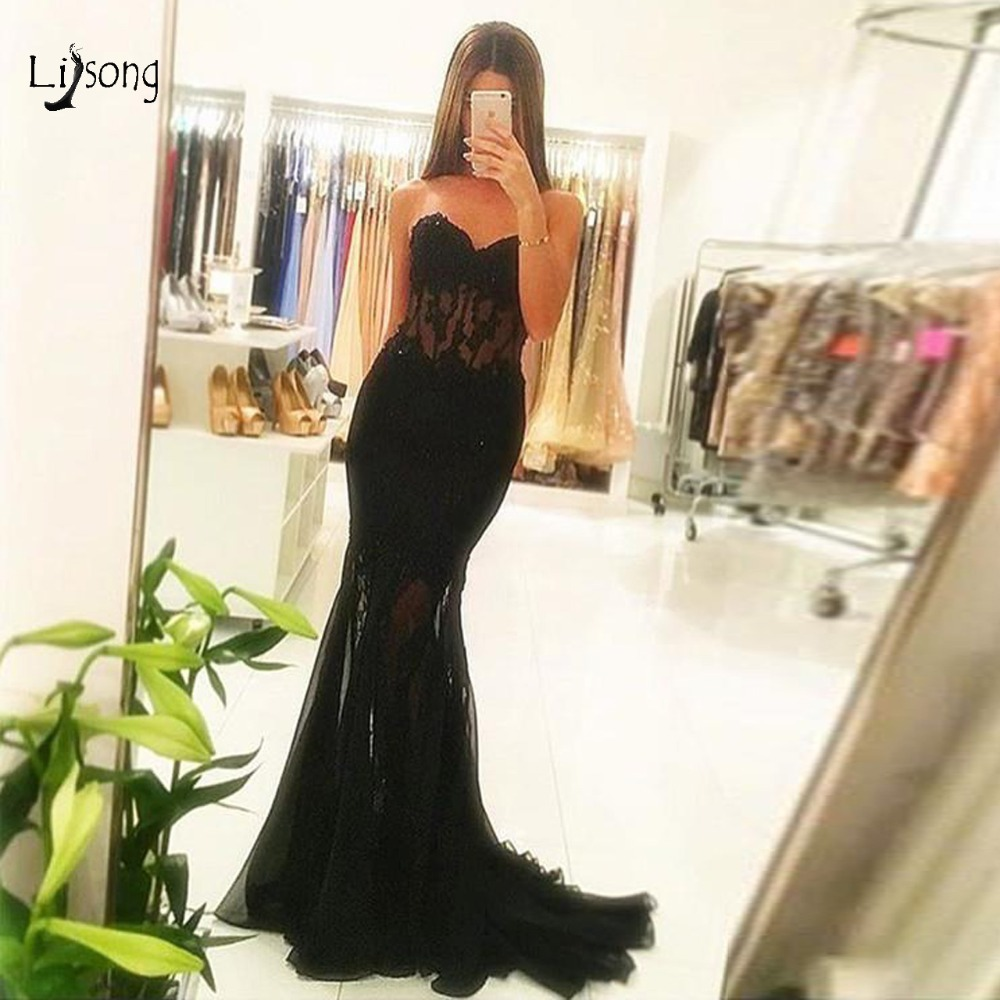 Elegant Black Lace See Through Corset Tulle Mermaid   Prom     Dresses   Appliques Sweetheart Sexy Abiye Evening Gowns Abendkleider