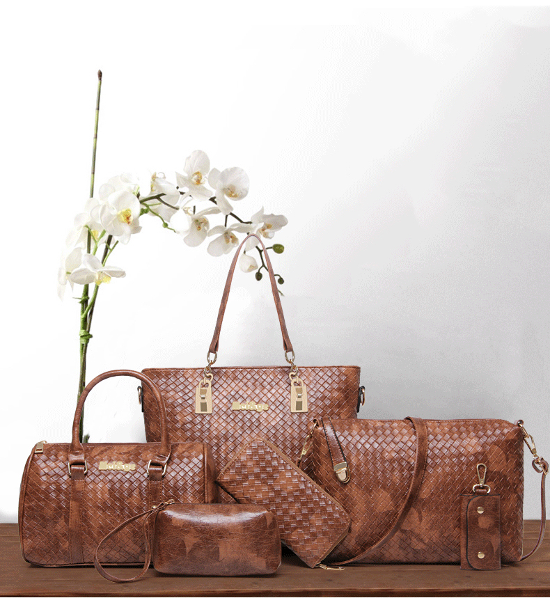 Set 5 Pcs PU Leather Women Bags Casual Handbags Vintage Shoulder Bag Large Capacity Wallet Solid Color Card in Top Handle Bags from Luggage Bags