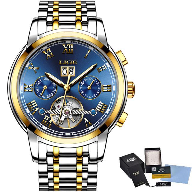 LIGE Mens Watches Top Brand Luxury Automatic Mechanical Watch Men Business Full Steel Waterproof Sport Wrist Watch Montre Homme