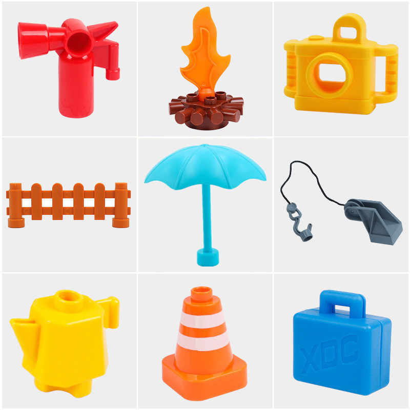 Diy Building Blocks Accessories Camera Fire Suitcase Fence Table Compatible with Duploed Toys for Children Baby Kids Gifts