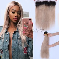 Guanyuhair #1B/27 Ombre 3 Bundles With Frontal Lace Closure 13X4 Ear to Ear Straight Peruvian Virgin Human Hair Weave With Baby