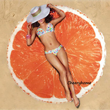 Orange Lemon Printed Round Beach Towel