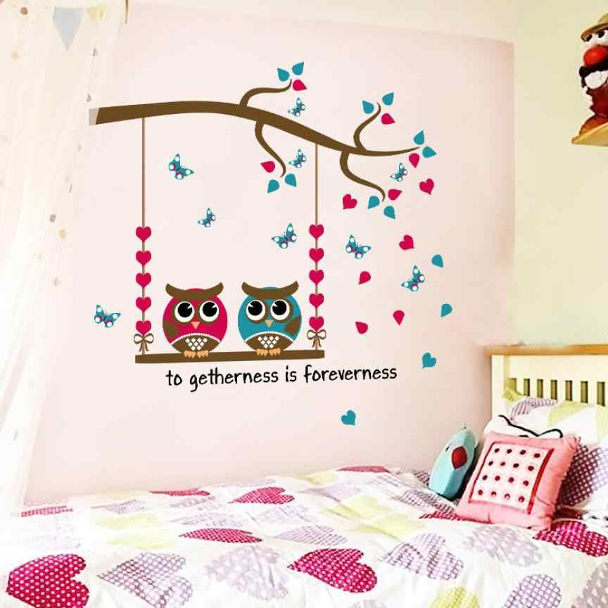 1PCS DIY Cute Black Owl Birds Branch Animls Switch Decal Wall Stickers Home Decals Bedroom Kids Room Light Parlor Decor 18July10