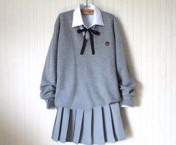 1c6275bd2a Anime japonês Kawaii Estudante Da Escola Uniforme Marinheiro Camisola de  Malha Conjunto Saia Bonito Estilo Preppy